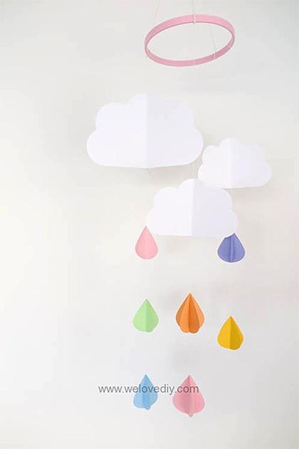 Mùa mưa đến ! làm ngay chuông gió hình cơn mưa với máy cắt giấy thủ công cho phòng thêm sinh động